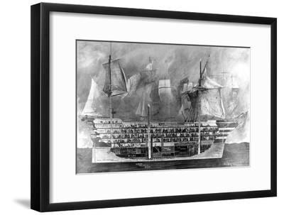 Interior of Nelson's Flagship, H.M.S. Victory at Trafalgar--Framed Giclee Print