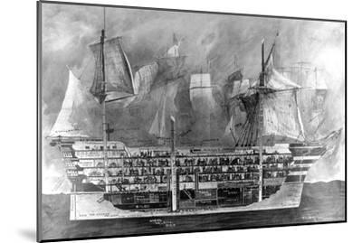 Interior of Nelson's Flagship, H.M.S. Victory at Trafalgar--Mounted Giclee Print