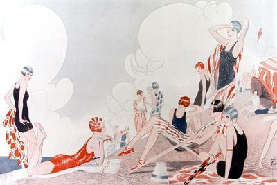 Illustration by Laurie Taylor Showing 1920's Sunbathers and Swimmers on a Shingled Beach--Stretched Canvas Print