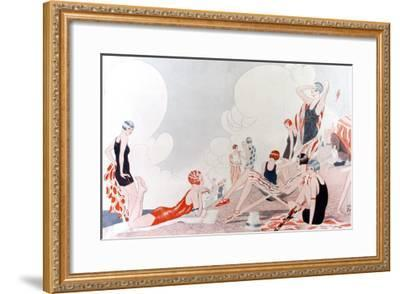 Illustration by Laurie Taylor Showing 1920's Sunbathers and Swimmers on a Shingled Beach--Framed Giclee Print