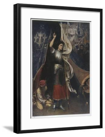Joan of Arc Is Helped to Don a Suit of Armour before Battle, in the Camp of Her Troops--Framed Giclee Print