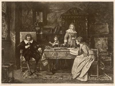 John Milton, Blind in Old Age, Dictates 'Paradise Lost' to His Three Daughters--Stretched Canvas Print