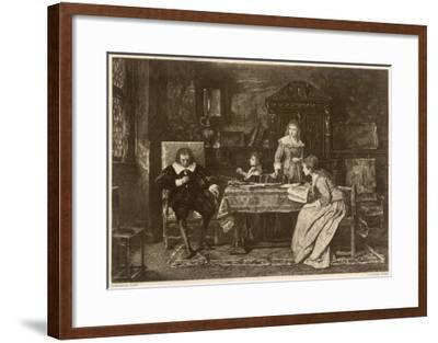 John Milton, Blind in Old Age, Dictates 'Paradise Lost' to His Three Daughters--Framed Giclee Print