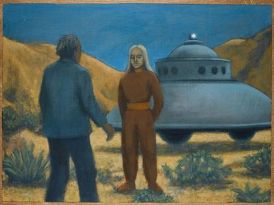 He Meets Orthon, a Venusian, at Desert Center, California-Michael Buhler-Stretched Canvas Print