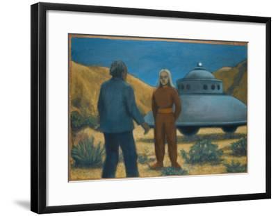 He Meets Orthon, a Venusian, at Desert Center, California-Michael Buhler-Framed Giclee Print