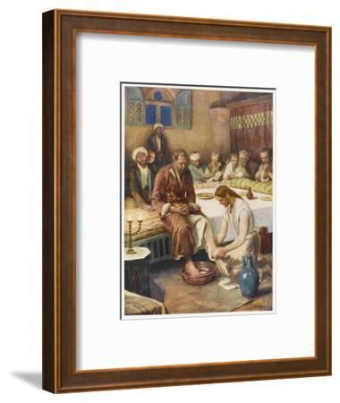 Jesus Washes the Feet of His Disciples--Framed Giclee Print