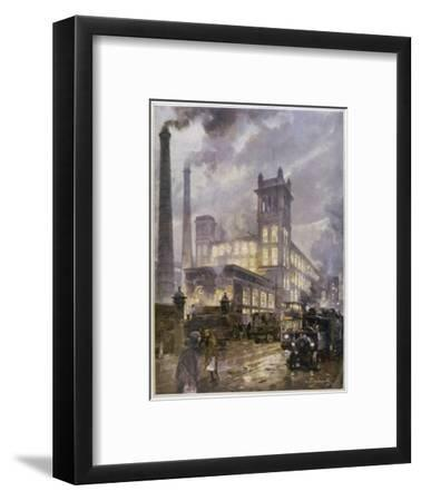 Preston, Lancashire: Horrockses Crewdson and Co. Centenary Cotton Mills, on a Rainy Day--Framed Giclee Print