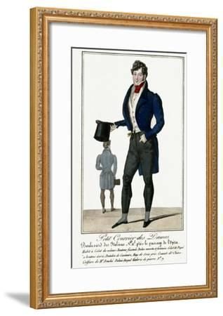 Man Wearing a Blue Jacket and Black Cashmere Trousers Carrying a Top Hat--Framed Giclee Print