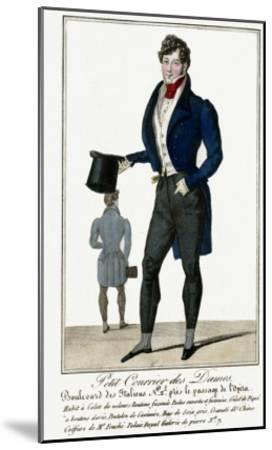 Man Wearing a Blue Jacket and Black Cashmere Trousers Carrying a Top Hat--Mounted Giclee Print