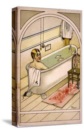 Man in Bath--Stretched Canvas Print