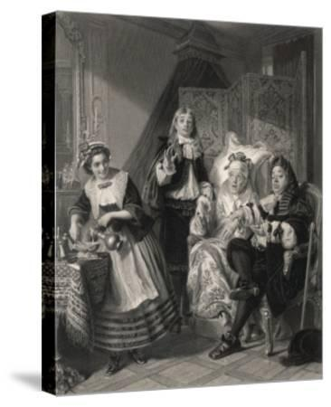 Le Malade Imaginaire' the Imaginary Invalid, His Doctors and His Maidservant--Stretched Canvas Print