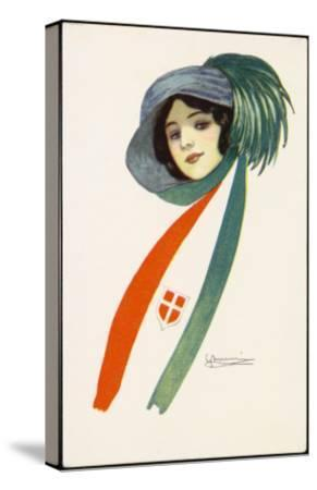 Patriotic Italian Girl--Stretched Canvas Print