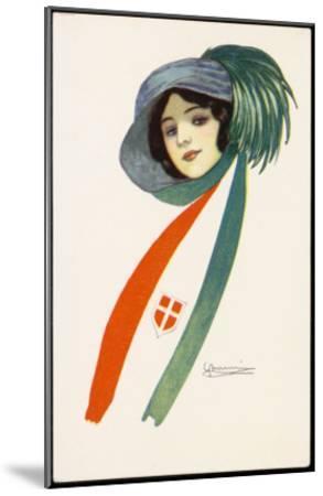 Patriotic Italian Girl--Mounted Giclee Print