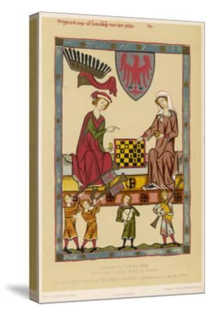 Otto IV, Margrave of Brandenburg, Depicted Playing Chess with His Wife Hedwig Von Holstein--Stretched Canvas Print