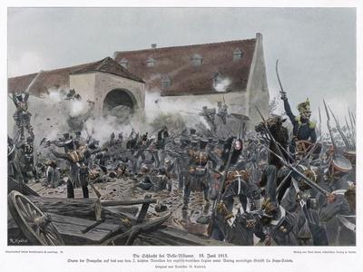 Napoleonic Wars the Fighting at La Haye-Sainte (Belle Alliance)--Stretched Canvas Print