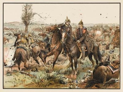 Otto Von Bismarck (1815 - 1898) Bismarck at the Battle of Koniggratz--Stretched Canvas Print