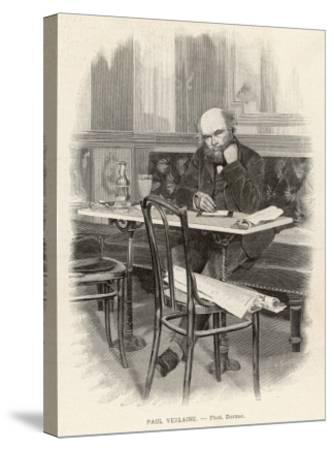 Paul Verlaine French Writer Writing at a Cafe Table--Stretched Canvas Print