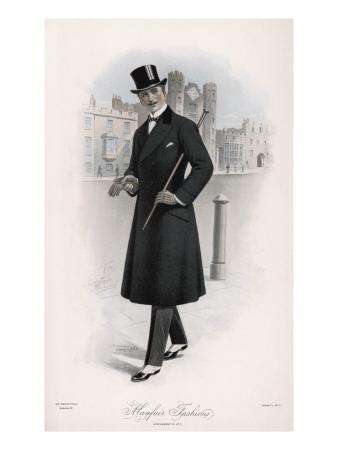Shifty-Looking Gentleman Wears a Double-Breasted Waisted Overcoat--Framed Giclee Print
