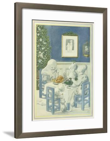 Snow Family Christmas Dinner--Framed Giclee Print