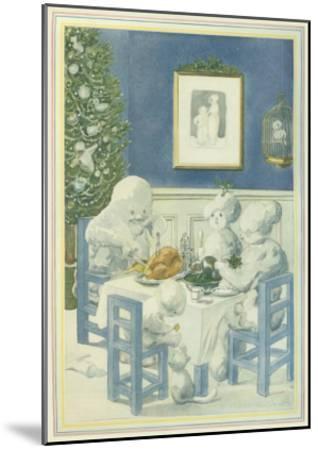 Snow Family Christmas Dinner--Mounted Giclee Print