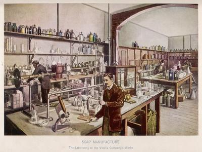 Soap Manufacture in the Laboratory at the Vinolia Company's Works--Stretched Canvas Print