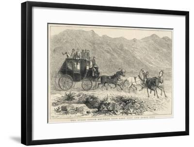 Six Horses Pull the Stage Coach Between Salt Lake City and Ophir City--Framed Giclee Print