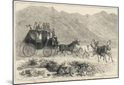 Six Horses Pull the Stage Coach Between Salt Lake City and Ophir City--Mounted Giclee Print