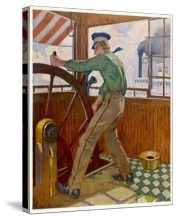 Samuel Clemens ('Mark Twain') Takes the Wheel in the Cabin of a Mississipi River Steamer--Stretched Canvas Print