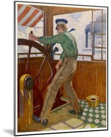 Samuel Clemens ('Mark Twain') Takes the Wheel in the Cabin of a Mississipi River Steamer--Mounted Giclee Print
