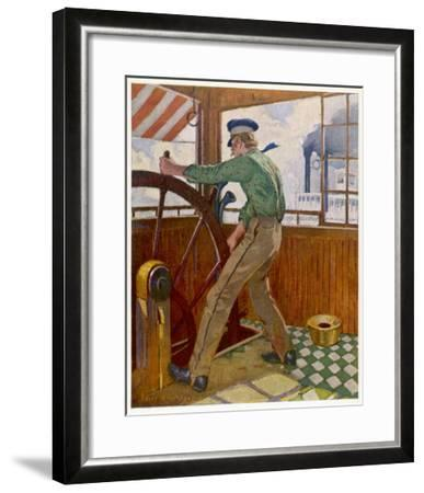 Samuel Clemens ('Mark Twain') Takes the Wheel in the Cabin of a Mississipi River Steamer--Framed Giclee Print