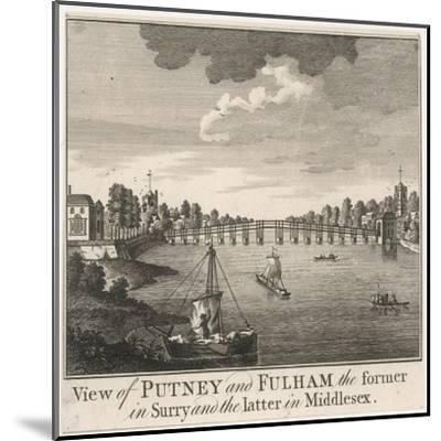 The Bridge Linking Fulham in Middlesex with Putney in Surrey--Mounted Giclee Print