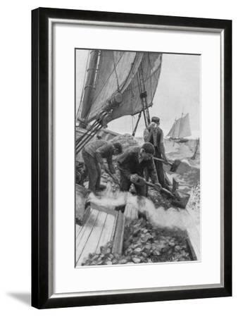 Tending Oyster Beds--Framed Giclee Print