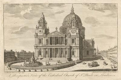 The Cathedral Church of St Paul's in London, in the Mid-18th Century--Stretched Canvas Print