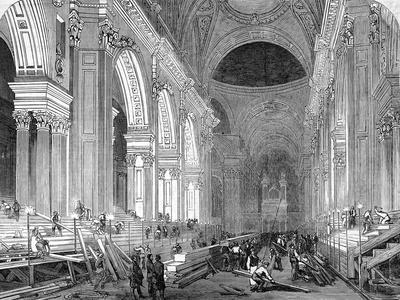 The Nave of St. Paul's Cathedral, London, 1852--Stretched Canvas Print