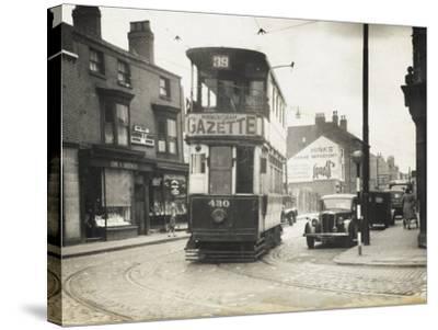 Tram in Birmingham--Stretched Canvas Print