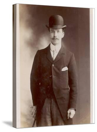 Young Man in Morning Coat, Bowler Hat and Cane: Perhaps an Office Clerk--Stretched Canvas Print
