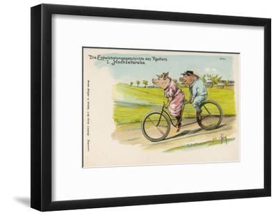 Two Happy Pigs Out for a Ride on their Tandem Bicycle--Framed Giclee Print