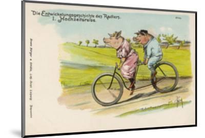 Two Happy Pigs Out for a Ride on their Tandem Bicycle--Mounted Giclee Print
