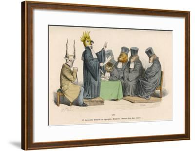 The Parrot Lays Down the Law to a Mixed Group of Animals--Framed Giclee Print