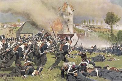 The Second Prussian Regiment Attacks at Plancenoit--Stretched Canvas Print