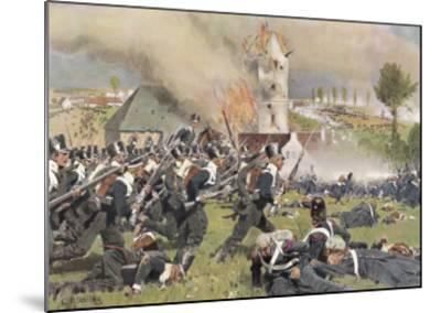 The Second Prussian Regiment Attacks at Plancenoit--Mounted Giclee Print