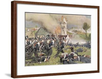 The Second Prussian Regiment Attacks at Plancenoit--Framed Giclee Print