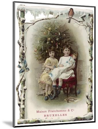 Two Girls Sit by the Tree with their Dolls--Mounted Giclee Print