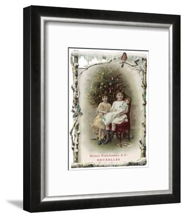 Two Girls Sit by the Tree with their Dolls--Framed Giclee Print