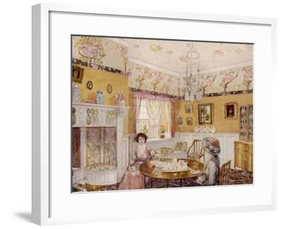 Two Women Take a Leisurely Afternoon Tea in a Prettily Decorated Room--Framed Giclee Print