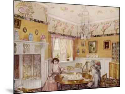 Two Women Take a Leisurely Afternoon Tea in a Prettily Decorated Room--Mounted Giclee Print