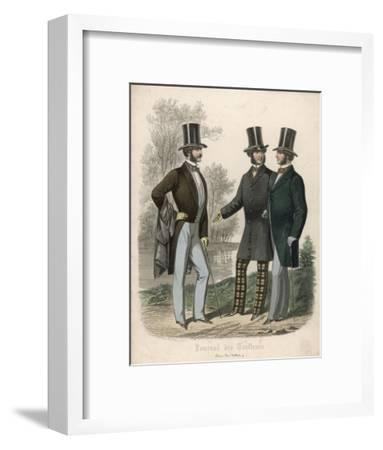Three Gentlemen Meet and Talk in a Park--Framed Giclee Print