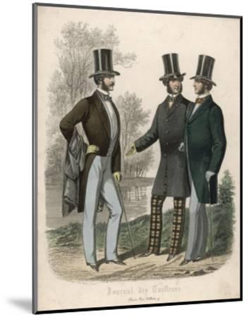 Three Gentlemen Meet and Talk in a Park--Mounted Giclee Print