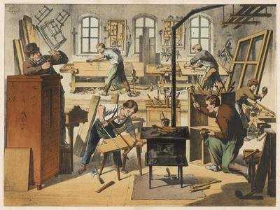 The Workshop of a Carpenter and Joiner, with Various Activities Taking Place--Stretched Canvas Print