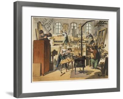 The Workshop of a Carpenter and Joiner, with Various Activities Taking Place--Framed Giclee Print